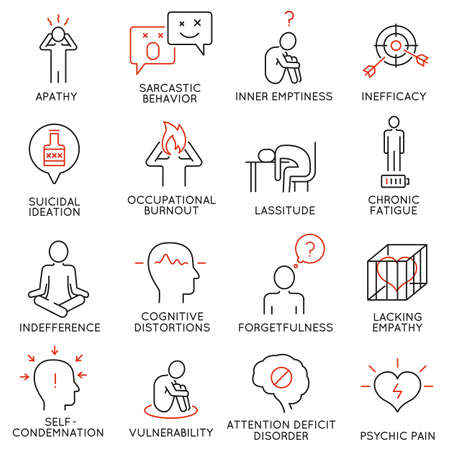 condemnation: Vector set of 16 linear icons related to human behavior and mental conditions. Mono line pictograms and infographics design elements