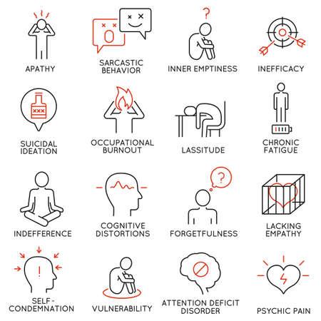 Vector set van 16 lineaire pictogrammen met betrekking tot menselijk gedrag en psychische aandoeningen. Mono lijn pictogrammen en infographics design elementen