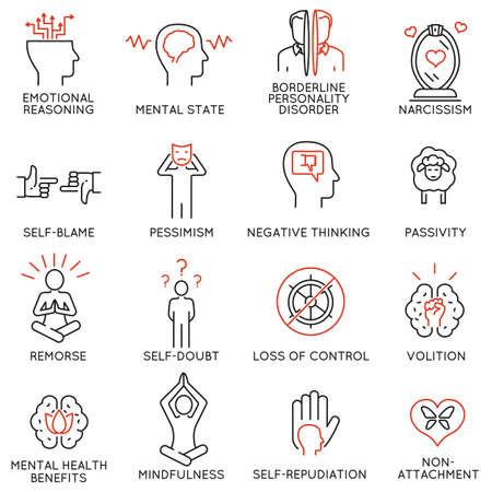 mindfulness, 인식, 의식 및 정신 조건에 관련 된 16 선형 아이콘 벡터 설정합니다. 모노 라인 그림 및 인포 그래픽 디자인 요소 - 1 부 일러스트