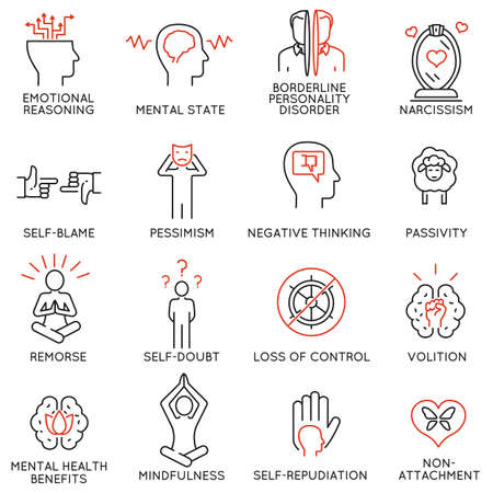 Vector set of 16 linear icons related to mindfulness, awareness, consciousness and mental conditions. Mono line pictograms and infographics design elements - part 1 Иллюстрация