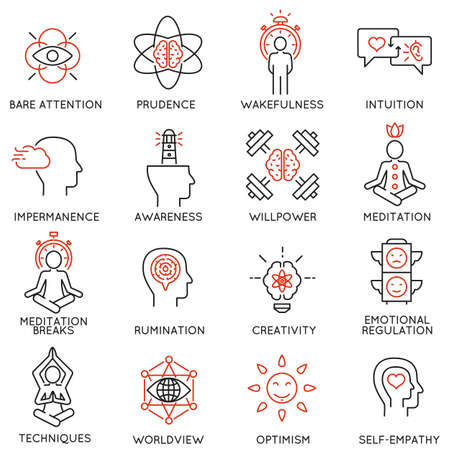 incarnation: Vector set of 16 linear icons related to mindfulness, awareness, consciousness and mental conditions. Mono line pictograms and infographics design elements - part 2