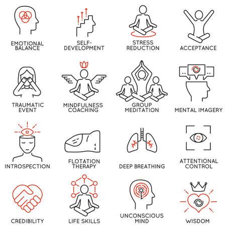 Vector conjunto de 16 iconos lineales relacionados con la atención, la conciencia, la conciencia y las condiciones mentales. pictogramas mono de línea y la infografía elementos de diseño - parte 3 Ilustración de vector