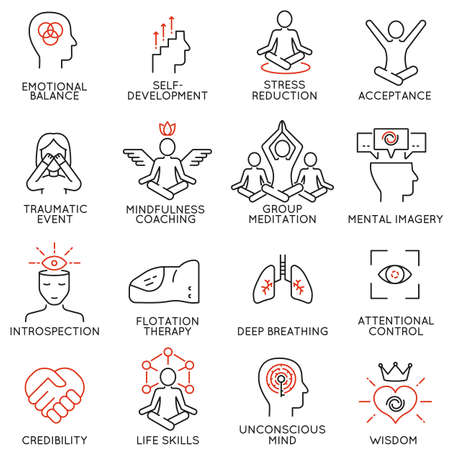 balance life: Vector set of 16 linear icons related to mindfulness, awareness, consciousness and mental conditions. Mono line pictograms and infographics design elements - part 3