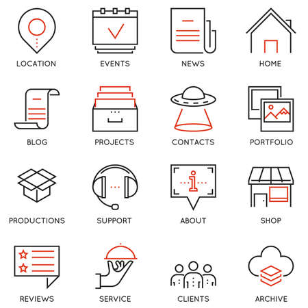 acquaintance: Vector set of 16 linear quality icons related to business management and processes. Illustration