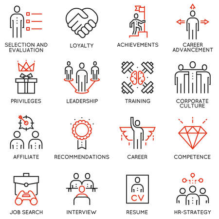 Vector set of 16 linear quality icons related to business management, strategy, career progress and business process. Mono line pictograms and infographics design elements - part 2 Ilustrace