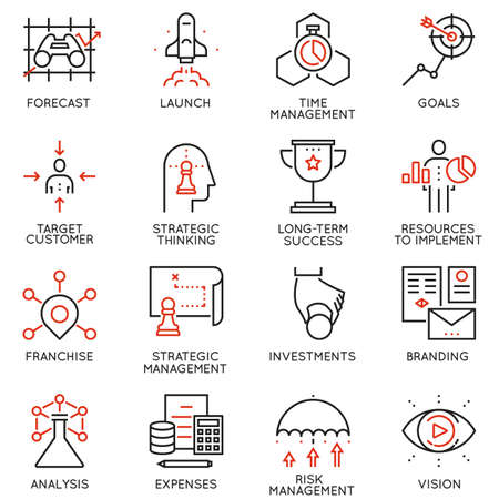 Vector set of 16 linear quality icons related to business management, strategy, career progress and business process. Mono line pictograms and infographics design elements - part 3
