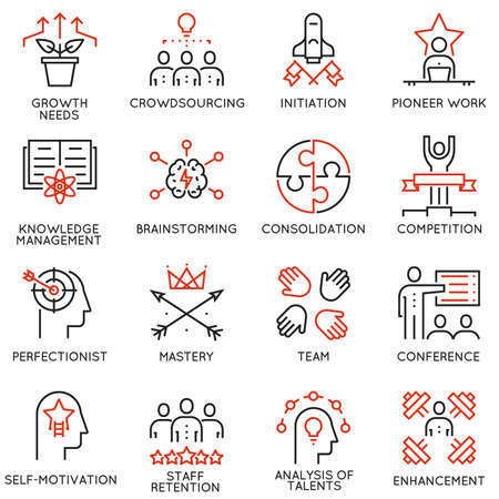 mastery: Set of 16 linear quality icons related to business management, strategy, career progress and business process. Mono line pictograms and infographics design elements.