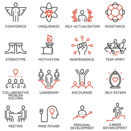 relationships human: Set of 16 linear quality icons related to business management, strategy, career progress and business process. Mono line pictograms and infographics design elements.