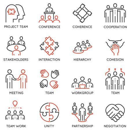 関連 16 線形品質なアイコンのセットをベクトルにチームの仕事、キャリアの進行状況とビジネス プロセス。モノラル ライン絵文字やインフォ グラ