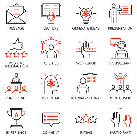 Vector set linear icons related to career progress, corporate management, business people training and professional consulting service. Pictograms and infographics outline elements Vectores