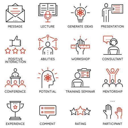 Vector Set lineare Symbole im Zusammenhang mit Karriere Fortschritt, Corporate Management, Geschäftsleute Ausbildung und professionelle Beratung. Piktogramme und Infografiken skizzieren Elemente