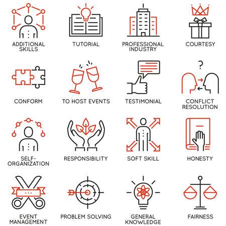 Vector conjunto de 16 iconos de calidad lineal relacionados con la gestión empresarial, estrategia, progreso profesional y proceso de negocio. Pictogramas de línea mono y elementos de diseño infográfico - parte 6 Ilustración de vector