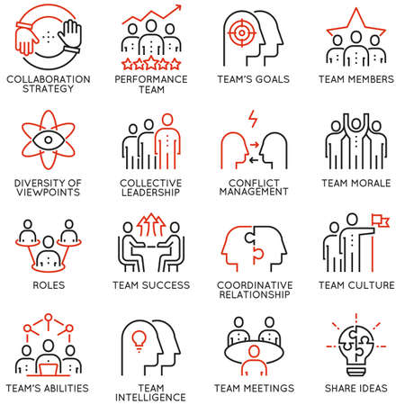 Ensemble vectoriel de 16 icônes de qualité linéaire liées au travail en équipe, au progrès professionnel et au processus commercial. Pictogrammes de ligne mono et éléments de conception d'infographie - partie 2 Vecteurs