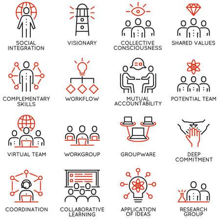 Ensemble de vecteur de 16 icônes de qualité linéaire liées au travail d'équipe, aux progrès de carrière et aux processus métiers. Pictogrammes et éléments de conception infographiques mono-ligne - Partie 3