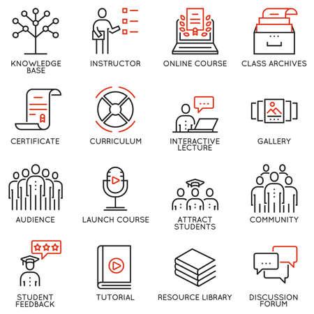 Vector conjunto de 16 iconos relacionados con la educación de negocios, formación, progreso de carrera y curso de actualización. Mono línea pictogramas e infografía elementos de diseño