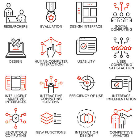 Cool Vector set of 16 linear quality icons related to design, development, prototype of user interface and interaction. Mono line pictograms and infographics design elements