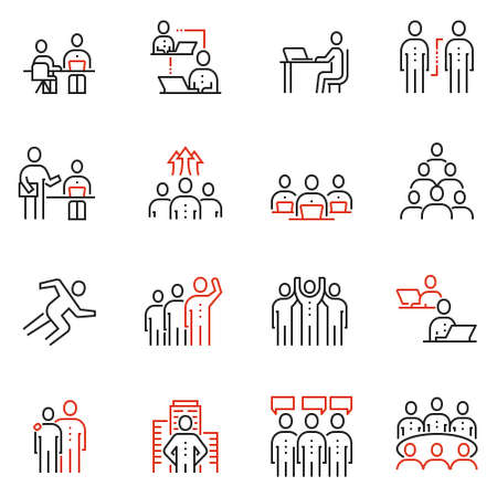 Vector set of 16 linear quality icons related to team work, human resources and collaboration.