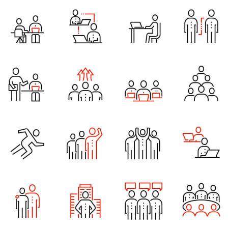 Vector Satz von 16 linearen Qualitätssymbolen, die auf Teamarbeit, Personalwesen und Zusammenarbeit bezogen werden. Vektorgrafik