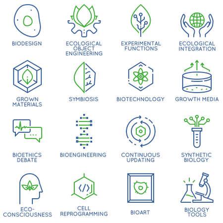 バイオ デザイン、バイオ テクノロジー、バイオ エンジニア リングに関連する 16 の線形薄いアイコンのベクトルを設定。モノラル ライン絵文字や