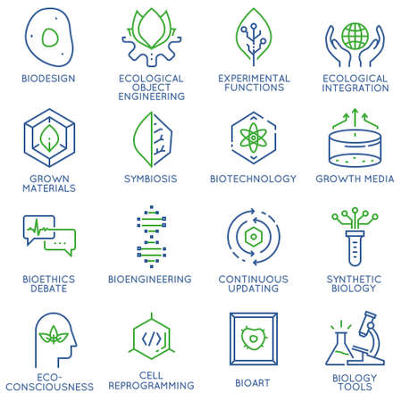 bioethics: Vector set of 16 linear thin icons related to bio design, biotechnology and bioengineering. Mono line pictograms and infographics design elements