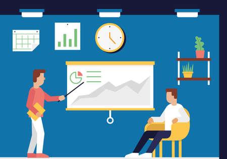 balanced scorecard: Vector Flat illustration of Business Consultation, Strategy Management System and Balanced Scorecard