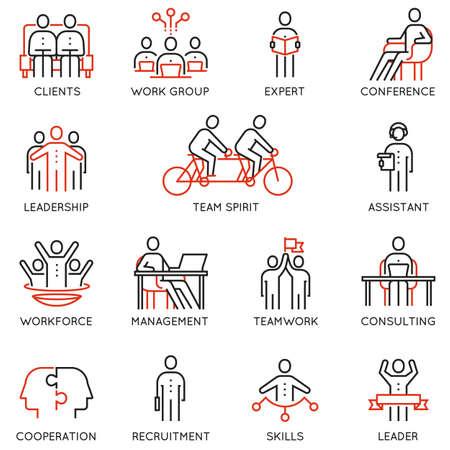 アイコン連携、協力、チームの仕事、人材管理に関連する線形のベクトルを設定します。モノラル ライン絵文字やインフォ グラフィック デザイン