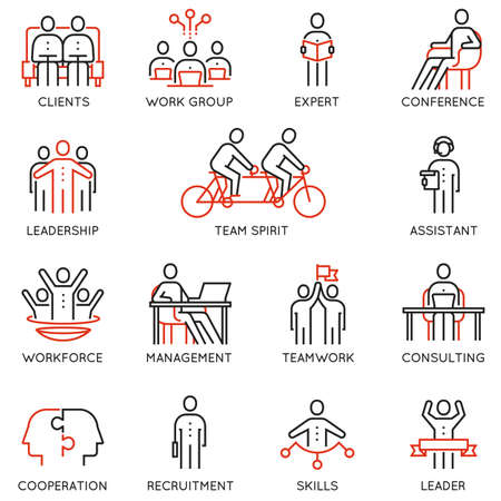 Vector set of linear icons related to collaboration, cooperation, team work and human resource management. Mono line pictograms and infographics design elements 矢量图像