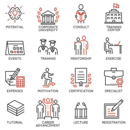 ベクトルは、キャリア発達、企業経営、ビジネス人々 の訓練、コンサルティング サービスに関連するアイコンを設定します。モノラル ライン絵文