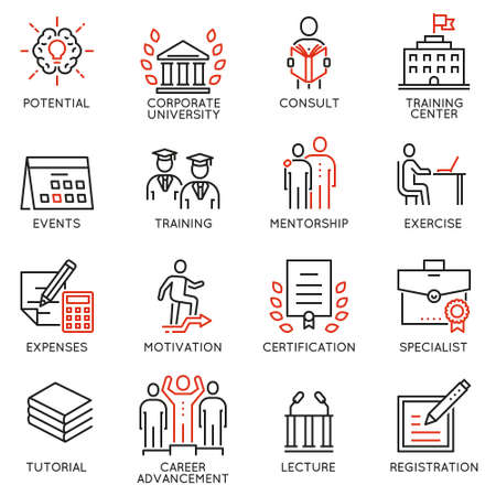 Vector set icons related to career progress, corporate management, business people training and professional consulting service. Mono line pictograms and infographics design elements - part 2