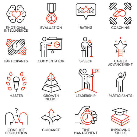 Vector set icons related to career progress, corporate management, business people training and professional consulting service. Mono line pictograms and infographics design elements - part 3