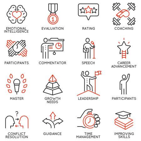 Iconos de conjunto de vectores relacionados con el progreso de la carrera, la gestión empresarial, la formación de personas de negocios y servicio de consultoría profesional. Pictogramas de línea mono y elementos de diseño infográfico - parte 3 Ilustración de vector