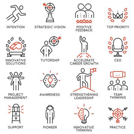 Vector set icons related to career progress, corporate management, business people training and professional consulting service. Mono line pictograms and infographics design elements - part 4