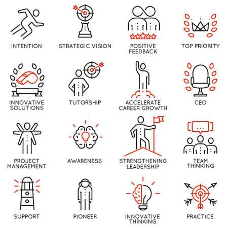 Vektor stellte Ikonen ein, die auf Karrierefortschritt, Unternehmensleitung, die Geschäftsleute, die ausbilden und professioneller Beratungsdienst stehen. Mono Linie Piktogramme und Infografiken Design-Elemente - Teil 4