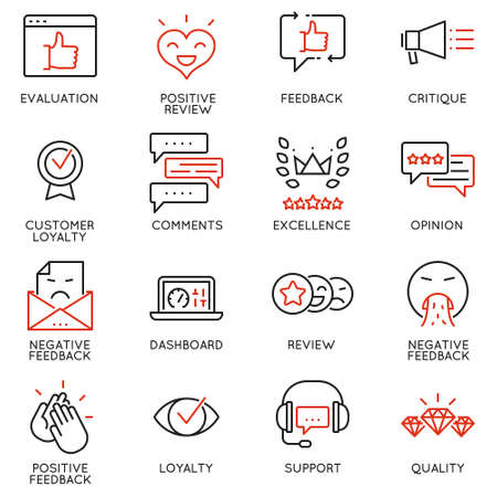 critique: Vector Set Of Linear Icons Related to Feedback, Review and Customer Relationship Management. Mono Line Pictograms and Infographics Design Elements