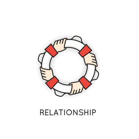 Vector Linear Symbol of Relationship, Support, Cohesion, Cooperation and Support In the Form of a Lifebuoy