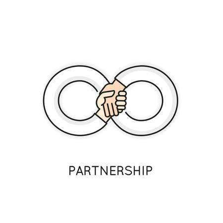 interdependent: Vector Linear Symbol of Partnership, Support, Team, Collaboration and Assistance In the Form of a Infinity Illustration