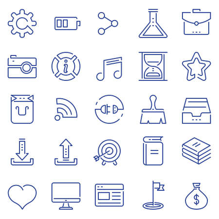 Set of linear outline thin icons of social media and business management, marketing items for design. Mono line pictograms and Infographics design elements - part 1 Çizim
