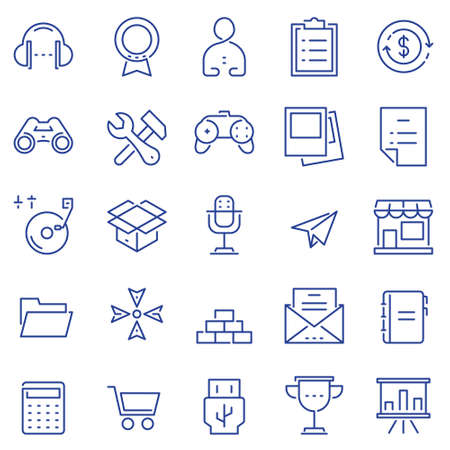 Set of linear outline thin icons of social media and business management, marketing items for design. Mono line pictograms and Infographics design elements - part 2. Çizim