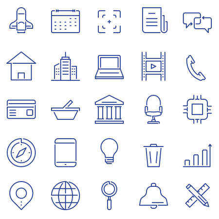 Set of linear outline thin icons of social media and business management, marketing items for design. Mono line pictograms and Infographics design elements - part 3 Çizim