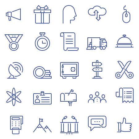 Set of linear outline thin icons of social media and business management, marketing items for design. Mono line pictograms and Infographics design elements - part 4