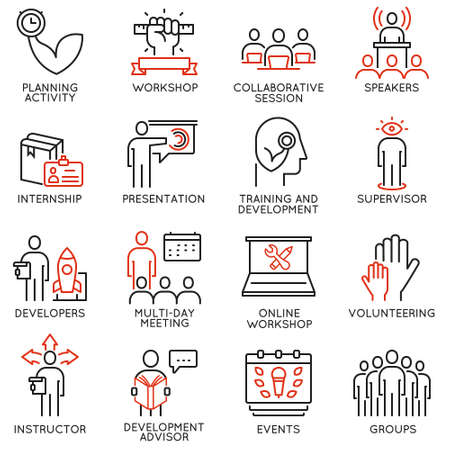 Vector set of 16 icons related to career progress, professional consulting service, training and development. Illustration