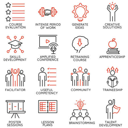 Vector set of 16 icons related to career progress, workshop, professional consulting service, training and development. Illustration