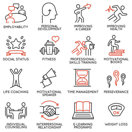 Vector set of 16 icons related to career progress, personal development, workshop, professional consulting service, training and development.