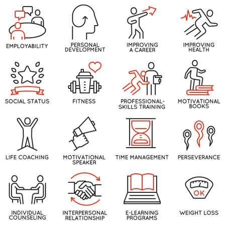 Vectorreeks van 16 pictogrammen met betrekking tot carrièrevooruitgang, persoonlijke ontwikkeling, workshop, professionele raadplegende dienst, opleiding en ontwikkeling.
