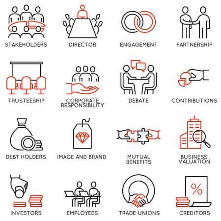 Vector Reihe von linearen Symbole im Zusammenhang mit Geschäftsprozess, Teamarbeit, Personalmanagement und Stakeholdern. Mono-Linie Piktogramme und Infografiken Design-Elemente - Teil 2 Vektorgrafik