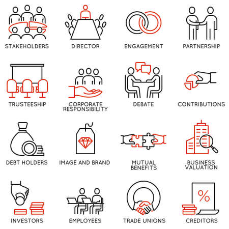 Vectorreeks lineaire pictogrammen met betrekking tot bedrijfsproces, teamwerk, personeelsbeheer en bewaarders. Monolijnpictogrammen en infographicsontwerpelementen - deel 2 Vector Illustratie