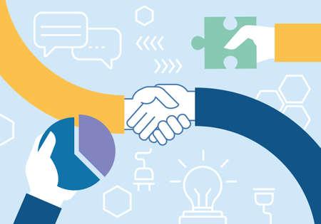 Un vecteur linéaire illustration linéaire liée de travail d'équipe, la coopération, la collaboration et l'interaction