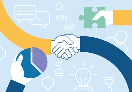Wektor płaski liniowy ilustracji związanych z pracy zespołowej, współpracy, współpracy i interakcji