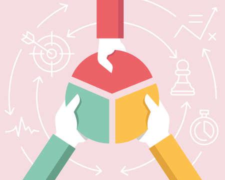 Płaska ilustracja liniowa wektorowa związana z komunikacją, relacjami interesariuszy, partnerstwem i pracą zespołową