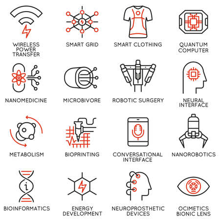Vector set of 16 thin linear icons related to innovation in technology and medicine. New inventions to improve human life. Mono line pictograms and infographics design elements Иллюстрация